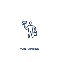 man painting concept 2 colored icon simple line vector image