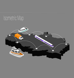 map serbia isometric concept vector image