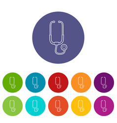 medical stethoscope icons set color vector image
