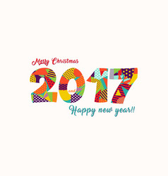 merry christmas new year 2017 fun typography card vector image