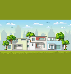 modern family houses with trees vector image