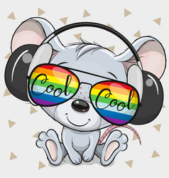 mouse with sun glasses and headphones vector image