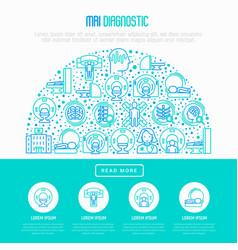 Mri diagnostics concept in half circle vector