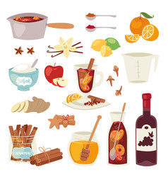 Mulled wine christmas winey beverage punch vector