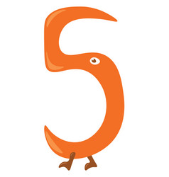 Numerical number five in orange color or color vector
