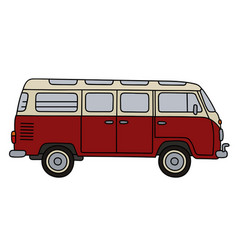 old red minibus vector image