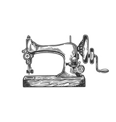 Old sewing machine engraving vector