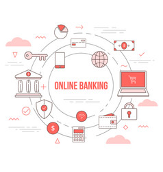 Online banking technology concept with icon set vector