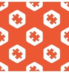 Orange hexagon puzzle pattern vector