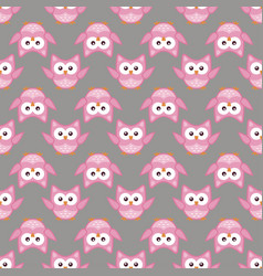 owl stylized art seamless pattern pink gray colors vector image