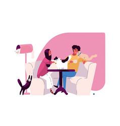 pair of romantic partners at cat cafe joyful man vector image