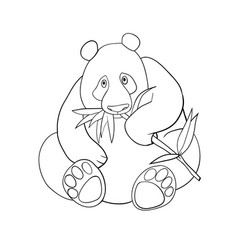 panda and bamboo leaves coloring book vector image