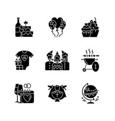 Party celebration black glyph icons set on white vector
