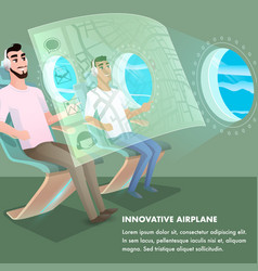 passenger wear headphone at innovative airplane vector image