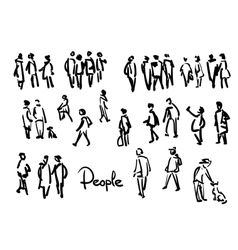 People sketch Outline hand drawing vector image