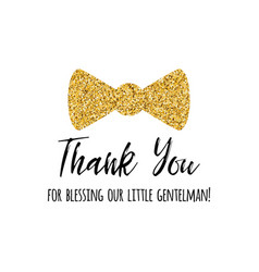 phrase thank you decorated gold bow tie vector image