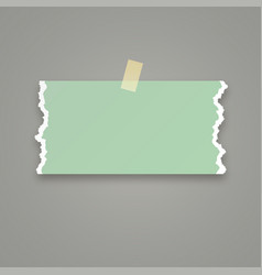 Piece green paper with torn edges vector