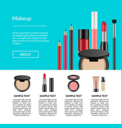realistic makeup elements website page vector image