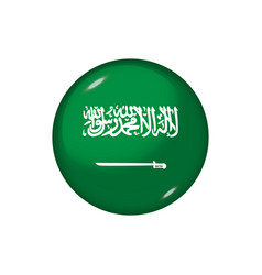 Round flag saudi arabia button icon glossy vector