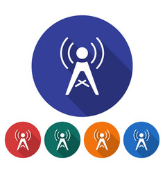 round icon of radio repeater flat style with long vector image