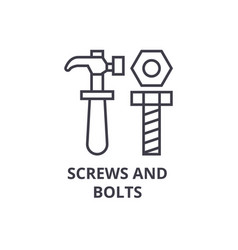 screws and bolts line icon sign vector image