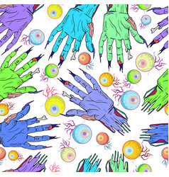 Seamless zombie hand eye pattern halloween vector