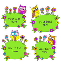 set isolated frames with funny owls vector image