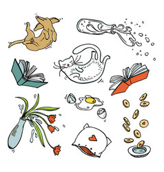 Set of flying home related objects pets and food vector
