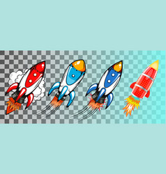 set of rockets in retro pop art style vector image