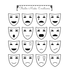 Set of theatrical masks emoticons Different vector