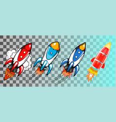 set rockets in retro pop art style vector image