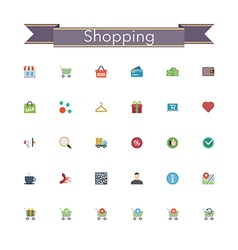 Shopping Flat Icons vector image