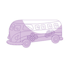 Silhouette retro hippie bus transportation with vector