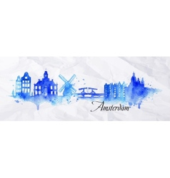 Silhouette watercolor amsterdam vector