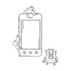 Sketch of the smartphone and viruses vector