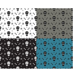 skull and bones deadly fun simple seamless pattern vector image