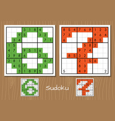 Sudoku game with the answers 6 7 numbers vector