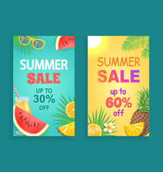 Summer sale offers posters set vector