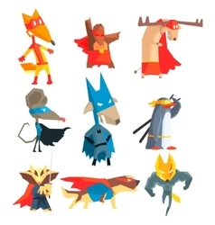 Super hero animals collection vector