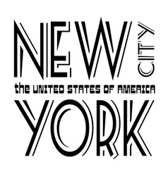 T shirt typography graphics New York black white vector image