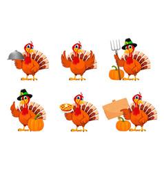 Thanksgiving turkey set six poses vector