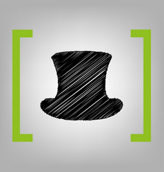top hat sign black scribble icon in vector image