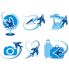 travel collection of symbols vector image