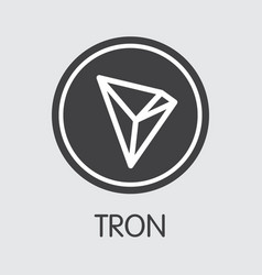 Tron - cryptographic currency web icon vector