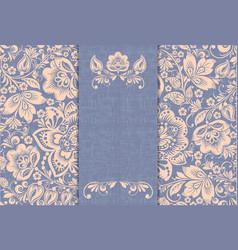 vintage card russian ornament khokhloma style vector image