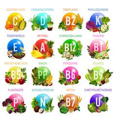 Vitamins and minerals organic natural food vector