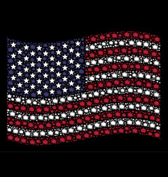 Waving american flag stylized composition of bang vector