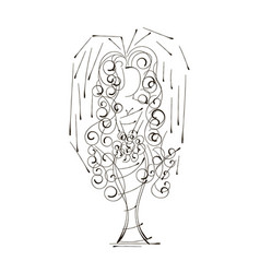 wedding design of bride in silhouette vector image