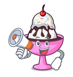 With megaphone ice cream sundae character cartoon vector