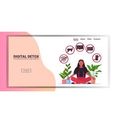 Woman sitting lotus pose gadgets in red vector